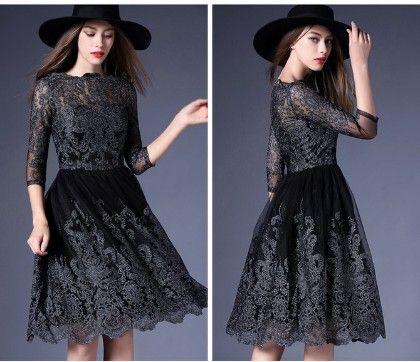 Black Embellished Lace Dress - Drape In Vogue