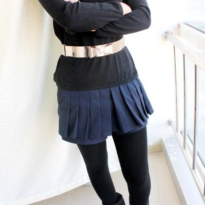 Gold Bow Contrast Black Elastic Wide Belt - She In