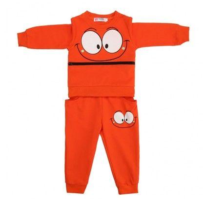 Boys Big Eyes Printed Zipper Front Long Sleeve Hoodie Tops And Pants Two Pieces Set - Orange - Kidsloft