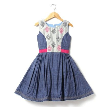 Lovely Silk Dress With Embroidered Yoke And Lace - ISM