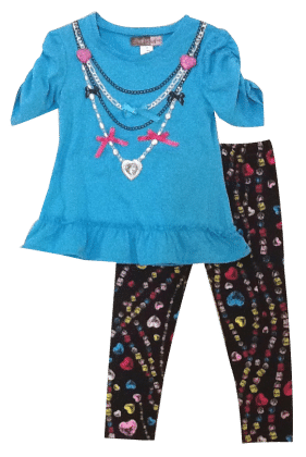 My Jewlery Collection Top And Pant Set- Blue - Baby Ziggles