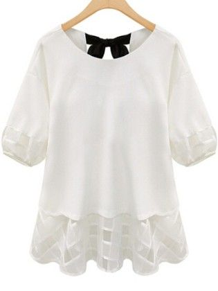 White Back Bow Chiffon Plus Top - She In