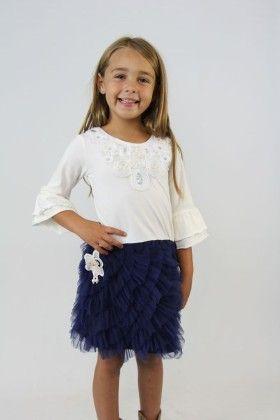 White And Dark Blue Ruffle Dress - Tutu And Lulu