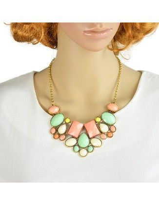 Colorful Imitation Gemstone Chunky Statement Necklace - She In