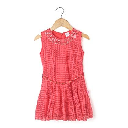 Sleeveless Net Fabric With Beads Belt - Tomato - Chocopie