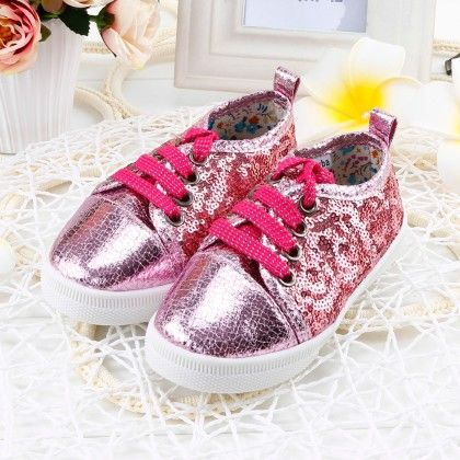 Shining Shimmer Shoes With Tie-up Laces - Pink - Twinkle Toes