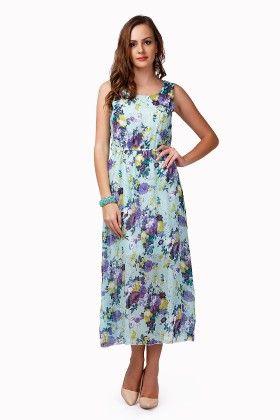 Dressvilla Blue Printed Long Dress