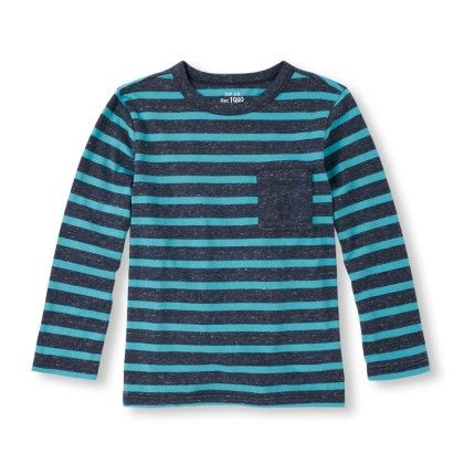 Long Sleeve Striped Marled Knit Top -tidal - The Children's Place