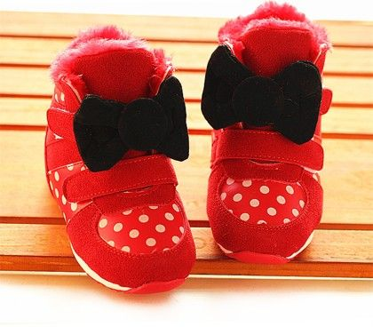 Red Polka Dot Shoes With Black Bow - Dancing Toes