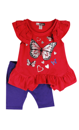 Flutter Sleeves Top And Shorts Butterfly Print Set-fuchsia - Baby Ziggles