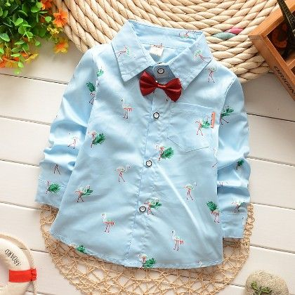 Blue Printed Shirt With Bow-tie - Kids Fashionista