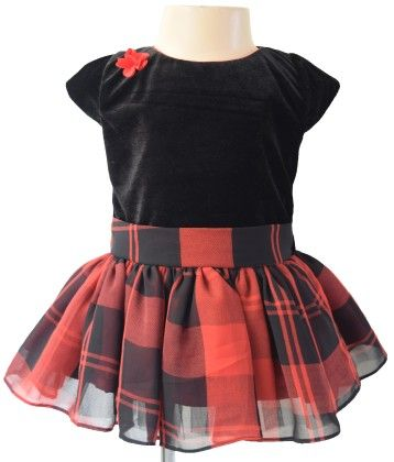 Black Velvet  &  Red Check Dress  - Black & Red - Faye