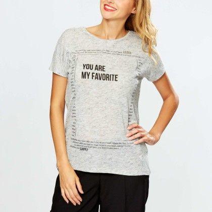 Slogan Print T-shirt Gray - Kiabi