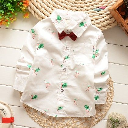 White Printed Shirt With Bow-tie - Kids Fashionista