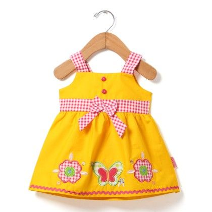 Sleeveless Plain Dress With Applique Embroidery-lemon - Chocopie