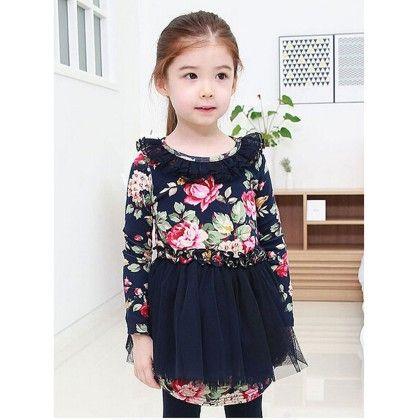 Floral Straight Cut Party Wear Dress - Petite Kids
