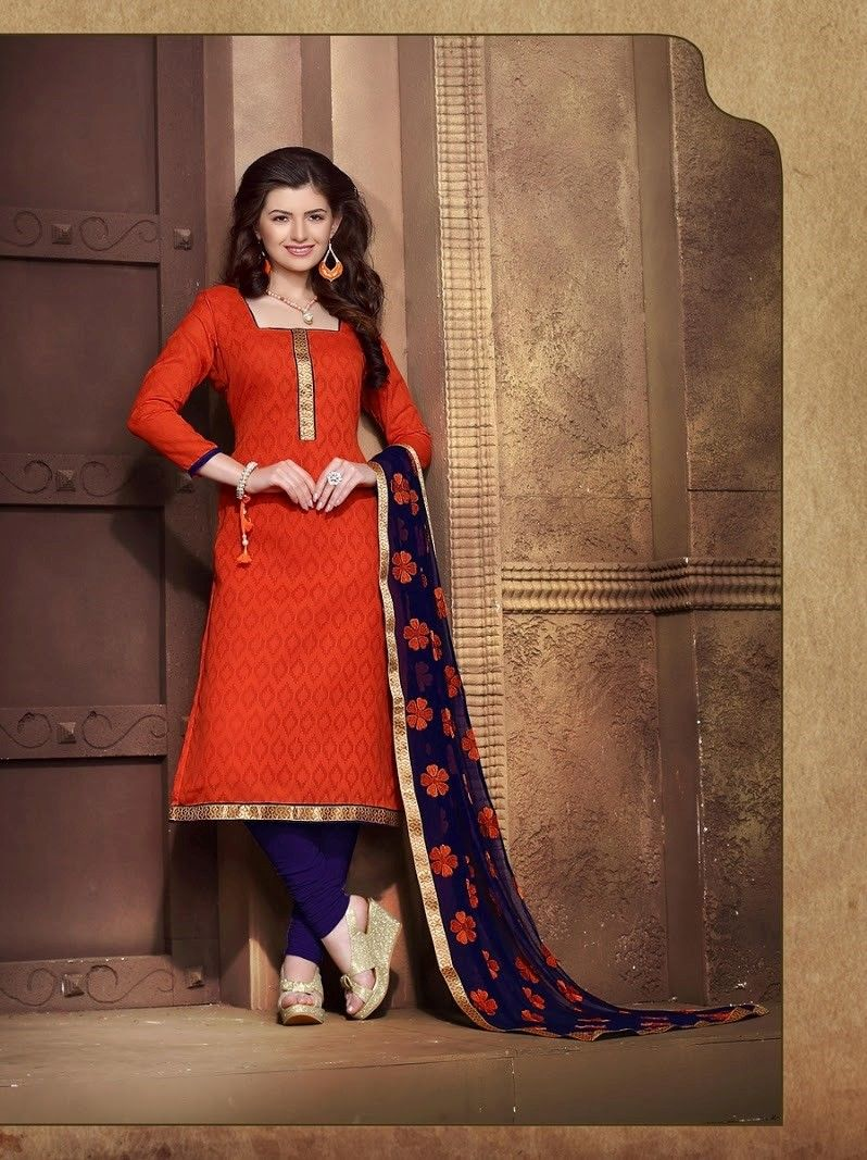 Red And Blue Cotton Dress Material - Fashion Fiesta