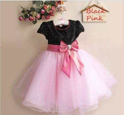 Girl's Embellished Bow Party Dress- Black And Pink - Mia's Flair
