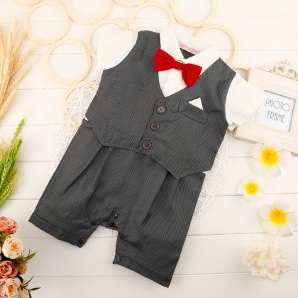 Cute Red Bow Waist Coat Romper One Pc - Gray - Richy Lad