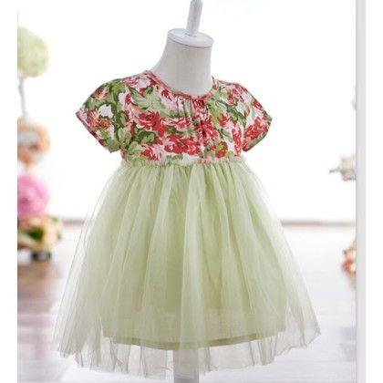 Floral Yoke Green Dress - Petite Kids