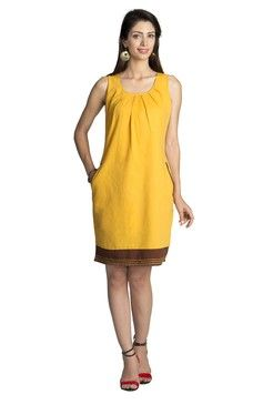 Mohr Women's Sleeveless Dress With Pleated Neckline Dark Yellow
