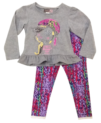 Pretty Girl Face Top And Multi Print Pant Set-gray - Baby Ziggles