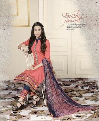 Peach Cotton With Embriodery Dress Material - Fashion Fiesta