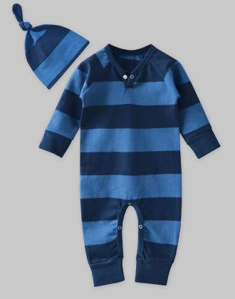 Heavy Jersey Navy-blue Stripe Jumpsuit & Knot Hat Set - A.T.U.N