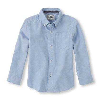 Long Sleeve Oxford Shirt - Light Blue - The Children's Place