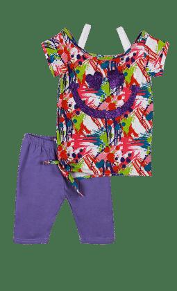 Short Sleeves Top And Leggings Set -purple - Baby Ziggles