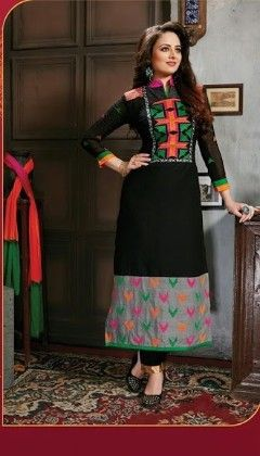 Black Semi Stitched Suit - Fashion Fiesta