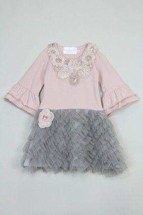 Vintage Rose And Grey Ruffle Dress - Tutu And Lulu