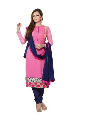 Touch Trends Pink Pure Georgette ,chiffon Dress Material-2 - Touch Trends Ethnic