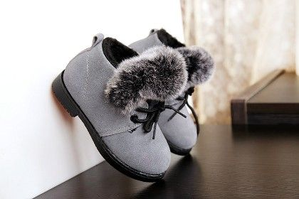 Grey Furry Shoes With Tie Up Laces - Dancing Toes