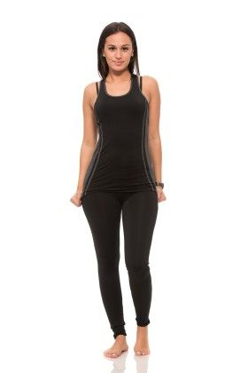 Womens Thick Layered Active Racerback Tank Top - Black - S2 Sportswear