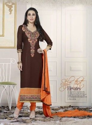 Brown Cotton With Embriodery Dress Material - Fashion Fiesta