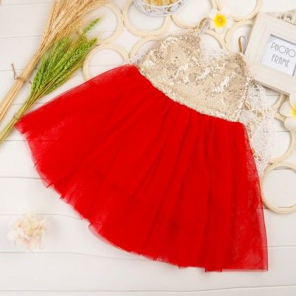 Ballerina Singlet Sequin Dress - Red - Little Dress Up