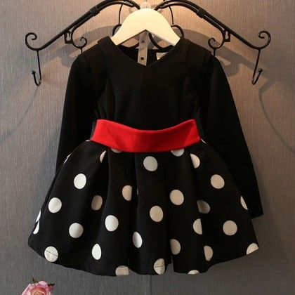 Black Polka Red Band Party Dress - Petite Kids