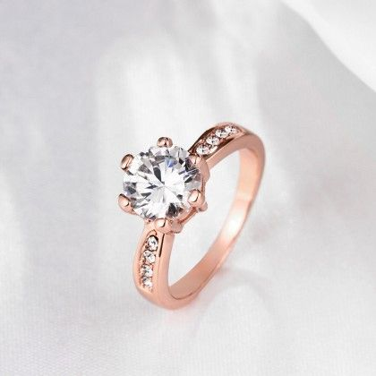 Rose Gold Plated 6ct Simulated Diamond Ring - Rubique Jewelry