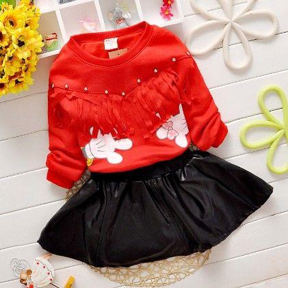 Red Designer Top & Black Balloon Skirt Set - Chirpy Frost