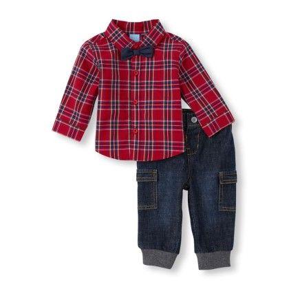 Bow Tie Plaid Button Down Shirt & Denim Cargo Pants - The Children's Place
