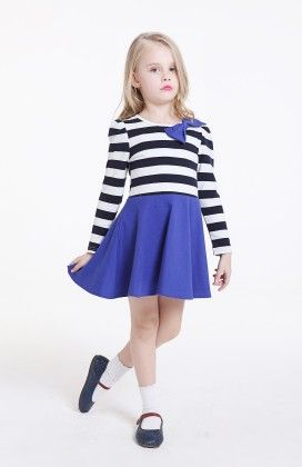 Stripped Casual Dress - Blue - Sassy Girl