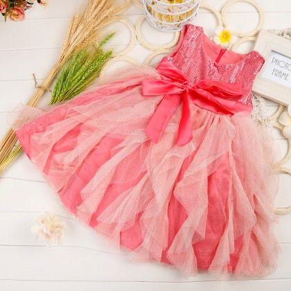 Sleeveless Sequin Ruffle Dress - Dark Pink - Little Dress Up