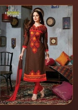 Brown Semi Stitched Suit - Fashion Fiesta