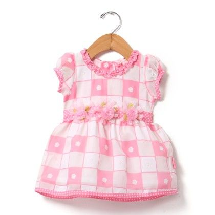 Brasso Printed Dress With Tissue Flower-pink - Chocopie