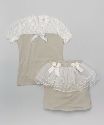 Grey Lace Ruffle Top And Skirt - Tutu And Lulu