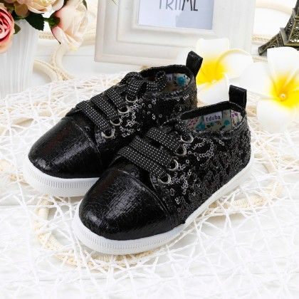 Shining Shimmer Shoes With Tie-up Laces - Black - Twinkle Toes
