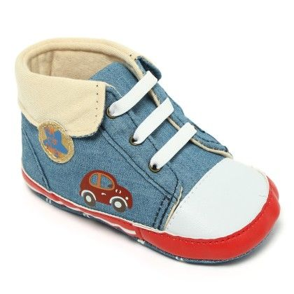 Denim Blue, White And Red High Ankle Walkers - Little Hip Boutique