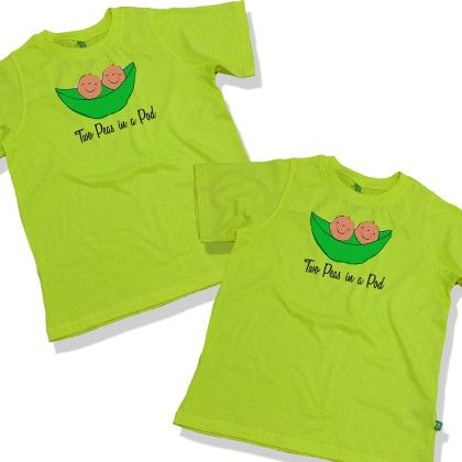 Two Peas In A Pod Round Neck Tees For Twins - BonOrganik