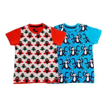 White & Blue Kids T Shirt Combo Pack Of 2 - Huntler - 215107